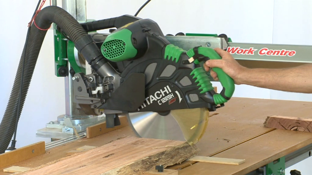 The saw attachment takes a variety of power saws