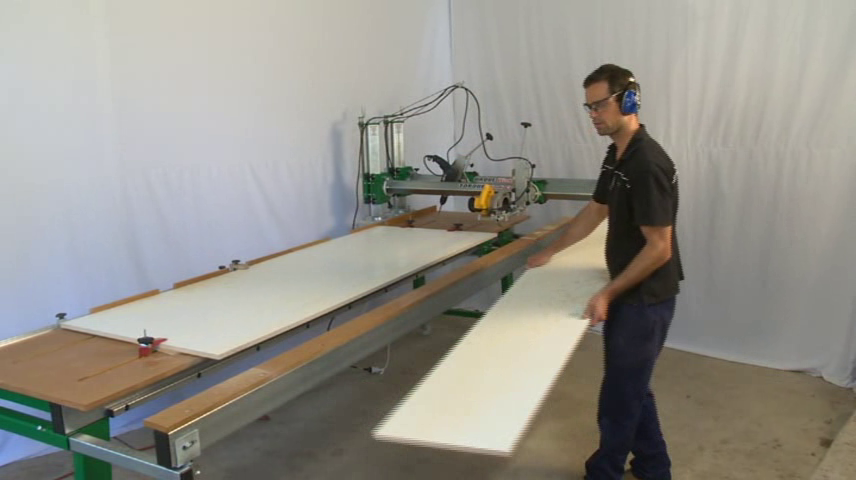 Cutting large sheets of material